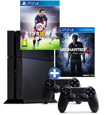 PS4-bundel Uncharted 4: A Thief's End + FIFA 16 + 2 controllers