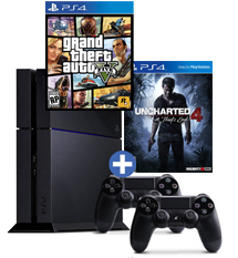 PS4-bundel Uncharted 4: A Thief's End + GTA 5 + 2 controllers
