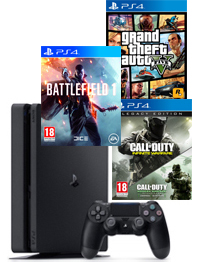 PS4-bundel (Slim) Call of Duty: Infinite Warfare + Modern Warfare Remastered + Battlefield 1 + GTA 5