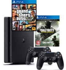 PS4-bundel (Slim) Call of Duty: Infinite Warfare + Modern Warfare Remastered 2 controllers + GTA 5