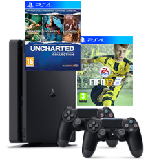 PS4-bundel FIFA 17 + Uncharted Collection + 2 controllers